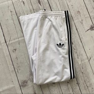Men's Adidas white striped athletic track pants XL